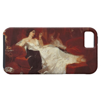 Woman on a red sofa iPhone 5 case