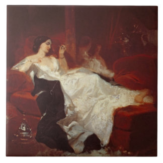 Woman on a red sofa tile