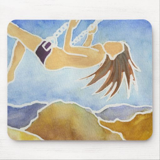 Woman on a swing over hills mousepad