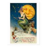 Woman on Broomstick All Halloween Postcards