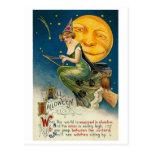 Woman on Broomstick All Halloween Postcards