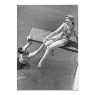 Woman on Diving Board 13 Cm X 18 Cm Invitation Card
