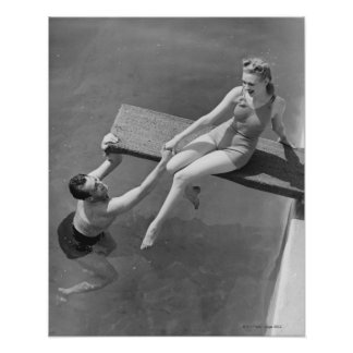 Woman on Diving Board Posters