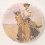 Woman on Horse by Dunton, Vintage Cowgirl Cowboy Drink Coasters