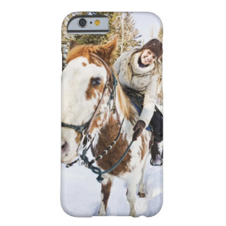 Woman on horse outdoors during winter barely there iPhone 6 case