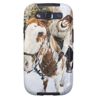 Woman on horse outdoors during winter samsung galaxy SIII case