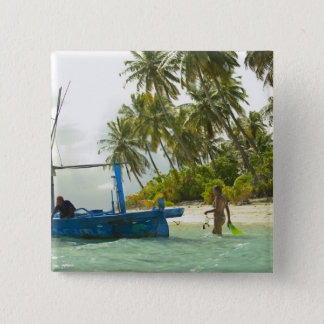 Woman on small traditional fishing boat, 15 cm square badge