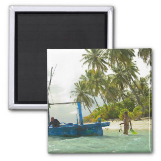 Woman on small traditional fishing boat, square magnet