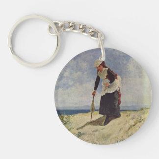 Woman on the Beach by Giuseppe de Nittis Single-Sided Round Acrylic Keychain
