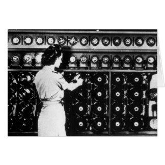 Woman Operates a Decryption Machine Greeting Card