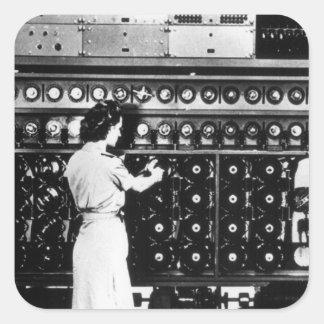 Woman Operates a Decryption Machine Square Sticker