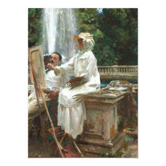 Woman Painting at Villa Torlonia Italy 14 Cm X 19 Cm Invitation Card