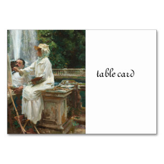 Woman Painting at Villa Torlonia Italy Table Card