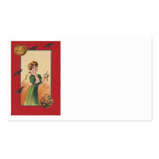 Woman Peeling Apple Jack O Lantern Bat Pack Of Standard Business Cards