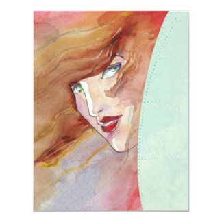 WOMAN PEERING OUT FROM ABSTRACT RV INVITATIONS! 11 CM X 14 CM INVITATION CARD