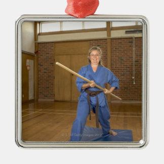 Woman performing Ken-Do-Kai Karate, smiling, Christmas Ornament