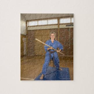 Woman performing Ken-Do-Kai Karate, smiling, Jigsaw Puzzle