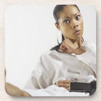 Woman performing martial arts 2 coaster