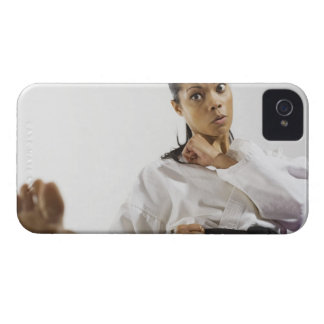 Woman performing martial arts 2 iPhone 4 case