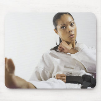 Woman performing martial arts 2 mouse mat