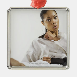 Woman performing martial arts 2 Silver-Colored square decoration