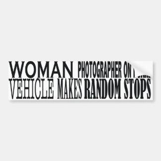 WOMAN PHOTOGRAPHER  ON BOARD BUMPER STICKER
