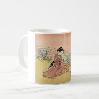 Woman picking chrysanthemums coffee mug