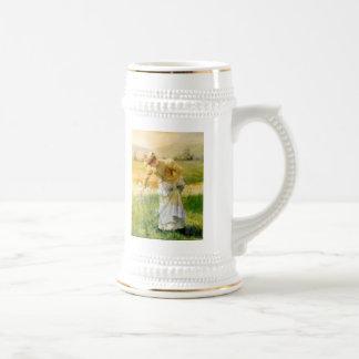 Woman Picking Flowers Coffee Mug