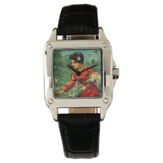 Woman picking flowers vintage wristwatch