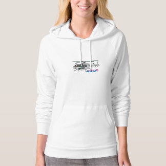 Woman Pilot flying Silver Helicopter - Light/Red Hoodie