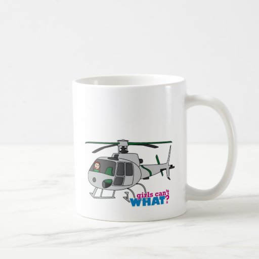 Woman Pilot flying Silver Helicopter - Light/Red Mug