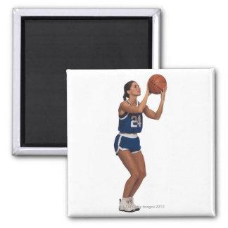 Woman player shooting basketball square magnet