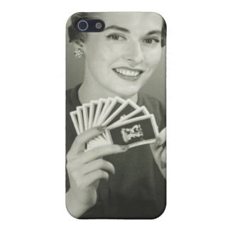 Woman Playing Cards iPhone 5 Cases