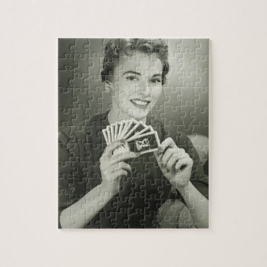 Woman Playing Cards Jigsaw Puzzle