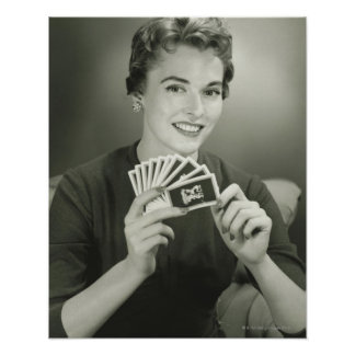 Woman Playing Cards Poster