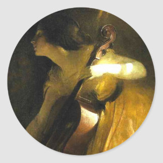 Woman Playing Cello Classic Round Sticker