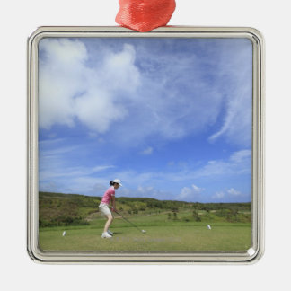 Woman playing golf Silver-Colored square decoration