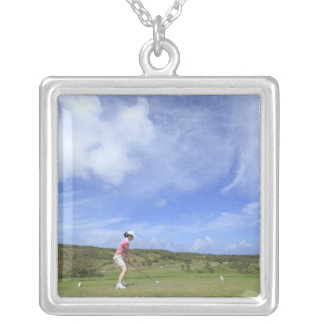 Woman playing golf silver plated necklace