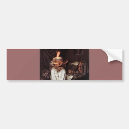 Woman Playing Lute music Instrument Medieval Bumper Stickers