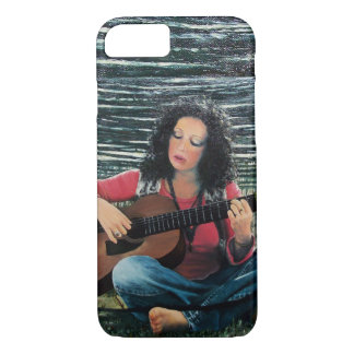 Woman Playing Music With Acoustic Guitar iPhone 8/7 Case