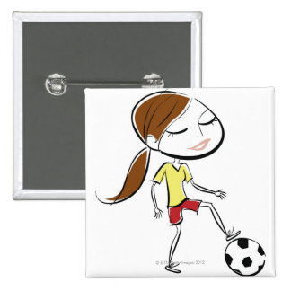 Woman playing soccer 15 cm square badge
