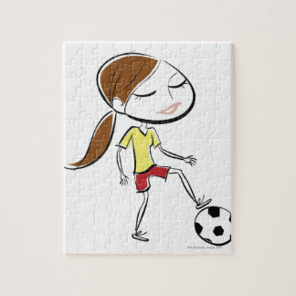 Woman playing soccer jigsaw puzzle