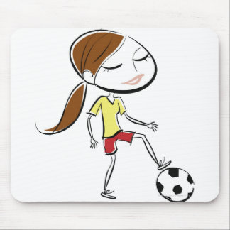 Woman playing soccer mouse pad