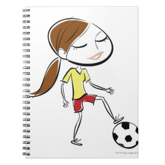 Woman playing soccer notebook