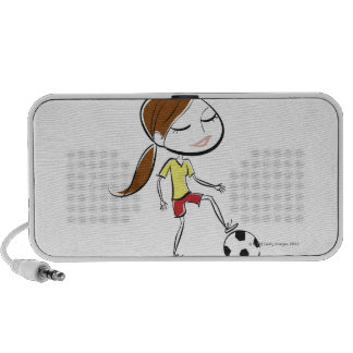Woman playing soccer portable speakers