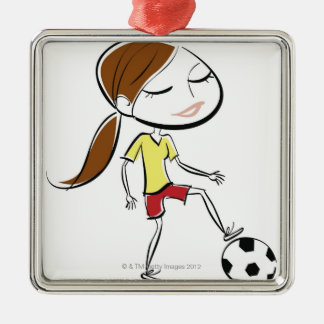 Woman playing soccer Silver-Colored square decoration