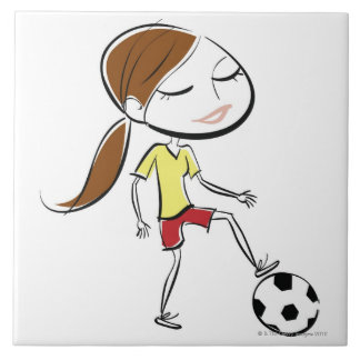 Woman playing soccer tile