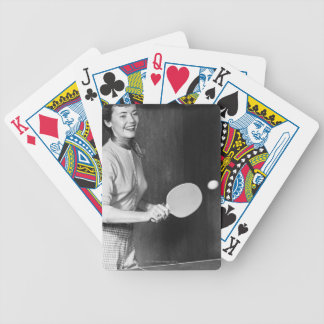 Woman Playing Table Tennis Bicycle Playing Cards