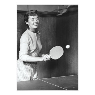 Woman Playing Table Tennis Card