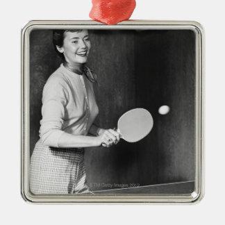 Woman Playing Table Tennis Christmas Ornament